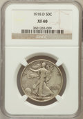 Walking Liberty Half Dollars: , 1918-D 50C XF40 NGC. NGC Census: (12/606). PCGS Population(28/775). Mintage: 3,853,040. Numismedia Wsl. Price for problem ...