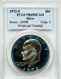 Proof Eisenhower Dollars: , 1972-S $1 Silver PR69 Deep Cameo PCGS. PCGS Population (14845/33).NGC Census: (1514/0). Numismedia Wsl. Price for problem...
