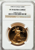 Modern Bullion Coins: , 1990-W G$50 One-Ounce Gold Eagle PR70 Ultra Cameo NGC. NGC Census:(678). PCGS Population (188). Mintage: 62,401. Numismedi...