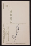 Baseball Collectibles:Others, Jimmie Foxx Signed Hall of Fame Plaque Postcard. ...