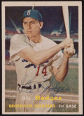 Baseball Cards:Autographs, 1957 Gil Hodges Signed Topps Card....
