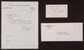 Baseball Collectibles:Others, 1975 Marvin Miller Signed Letter and Index Card....