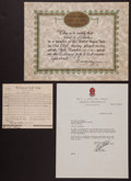Golf Collectibles:Autographs, 1941 Walter Hagen Signed Hole in One Certificate....