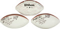 Football Collectibles:Balls, Collection of Three Multi Signed Hall of Fame Footballs. ...