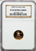 Modern Bullion Coins, 2005-W G$5 Tenth-Ounce Gold Eagle PR69 Ultra Cameo NGC. NGC Census:(898/1604). PCGS Population (1383/301). Numismedia Wsl...