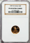 Modern Bullion Coins: , 1999-W G$5 Tenth-Ounce Gold Eagle PR69 Ultra Cameo NGC. NGC Census:(1309/420). PCGS Population (2297/113). Numismedia Wsl...