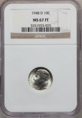 Roosevelt Dimes, 1948-D 10C MS67 Full Torch NGC. NGC Census: (123/4). PCGSPopulation (97/2). Mintage: 52,841,000. Numismedia Wsl. Pricefor...