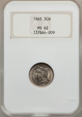 Three Cent Nickels: , 1865 3CN MS62 NGC. NGC Census: (293/1048). PCGS Population(252/1137). Mintage: 11,382,000. Numismedia Wsl. Price for probl...