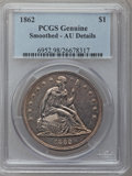 Seated Dollars, 1862 $1 -- Smoothed -- PCGS Genuine. AU Details. NGC Census:(4/64). PCGS Population (9/82). Mintage: 11,500. Numismedia Ws...