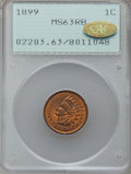 Indian Cents, 1899 1C MS63 Red and Brown PCGS. Gold CAC. PCGS Population(181/681). NGC Census: (122/983). Mintage: 53,600,032. Numismedi...