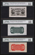 Fractional Currency:Third Issue, Fr. 1275SP/Fr. 1272SP/Fr. 1273SP 15¢ Third Issue Wide Margin Trio PMG About Uncirculated 55 EPQ, About Uncirculated 53 EPQ, Ch... (Total: 3 notes)