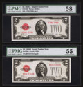 Small Size:Legal Tender Notes, Fr. 1502 $2 1928A Legal Tender Note. PMG Choice About Unc 58;. Fr. 1503 $2 1928B Legal Tender Note. PMG About Uncirculated 55.... (Total: 2 notes)