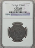Large Cents, 1794 1C Head of 1794 -- Corrosion -- NGC Details. VF. S-21. PCGSPopulation (55/351). Numismedia Wsl. ...