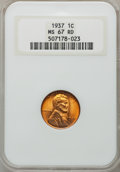Lincoln Cents: , 1937 1C MS67 Red NGC. NGC Census: (2176/0). PCGS Population(402/1). Mintage: 309,179,328. Numismedia Wsl. Price for proble...