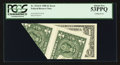 Error Notes:Foldovers, Fr. 1914-E $1 1988 Federal Reserve Note. PCGS About New 53PPQ.. ...