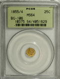 California Fractional Gold: , 1855/4 25C Liberty Octagonal 25 Cents, BG-106, R.3, MS64 PCGS. PCGSPopulation (34/8). NGC Census: (8/1). (#10375)...