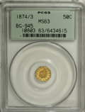 California Fractional Gold: , 1874/3 50C Indian Octagonal 50 Cents, BG-945, High R.4, MS63 PCGS.PCGS Population (14/14). NGC Census: (2/3). (#10803)...