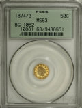 California Fractional Gold: , 1874/3 50C Indian Round 50 Cents, BG-1052, High R.4, MS63 PCGS.PCGS Population (12/15). NGC Census: (0/4). (#10881)...