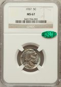 Buffalo Nickels: , 1937 5C MS67 NGC. CAC. NGC Census: (346/4). PCGS Population(310/5). Mintage: 79,485,768. Numismedia Wsl. Price for problem...