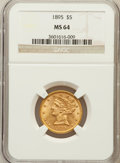 Liberty Half Eagles: , 1895 $5 MS64 NGC. NGC Census: (392/74). PCGS Population (149/22).Mintage: 1,345,936. Numismedia Wsl. Price for problem fre...