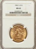 Liberty Eagles: , 1882-S $10 MS62 NGC. NGC Census: (83/25). PCGS Population (72/13).Mintage: 132,000. Numismedia Wsl. Price for problem free...