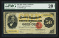 Large Size:Gold Certificates, Fr. 1197 $50 1882 Gold Certificate PMG Very Fine 20 Net.. ...