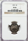 Proof Shield Nickels: , 1872 5C PR65 NGC. NGC Census: (108/51). PCGS Population (107/45).Mintage: 950. Numismedia Wsl. Price for problem free NGC/...