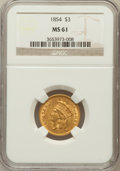 Three Dollar Gold Pieces: , 1854 $3 MS61 NGC. NGC Census: (343/489). PCGS Population (79/522).Mintage: 138,618. Numismedia Wsl. Price for problem free...