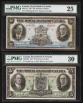 Canadian Currency: , Montreal, PQ- The Royal Bank of Canada Two Different Charlton Numbers.. ... (Total: 2 notes)
