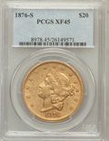 Liberty Double Eagles: , 1876-S $20 XF45 PCGS. PCGS Population (112/2807). NGC Census:(124/4935). Mintage: 1,597,000. Numismedia Wsl. Price for pro...