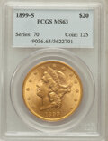 Liberty Double Eagles: , 1899-S $20 MS63 PCGS. PCGS Population (1184/246). NGC Census:(1217/288). Mintage: 2,010,300. Numismedia Wsl. Price for pro...