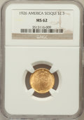 Commemorative Gold: , 1926 $2 1/2 Sesquicentennial MS62 NGC. NGC Census: (1188/5521).PCGS Population (1363/8658). Mintage: 46,019. Numismedia Ws...