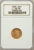 Classic Quarter Eagles, 1836 $2 1/2 Block 8 AU58 NGC. Large Head of 1834, Breen-6142, Variety 8, R.3....