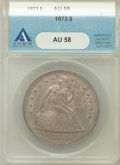 Seated Dollars: , 1873 $1 AU58 ANACS. NGC Census: (22/66). PCGS Population (18/74).Mintage: 293,000. Numismedia Wsl. Price for problem free ...