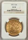 Liberty Double Eagles: , 1876-S $20 AU58 NGC. NGC Census: (2187/1729). PCGS Population(679/1395). Mintage: 1,597,000. Numismedia Wsl. Price for pro...