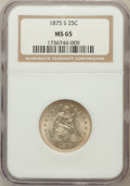 Seated Quarters: , 1875-S 25C MS65 NGC. NGC Census: (9/1). PCGS Population (7/2).Mintage: 680,000. Numismedia Wsl. Price for problem free NGC...