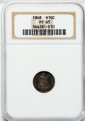 Proof Seated Half Dimes: , 1868 H10C PR65 NGC. NGC Census: (23/19). PCGS Population (20/12).Mintage: 600. Numismedia Wsl. Price for problem free NGC/...