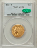 Indian Half Eagles: , 1914-S $5 AU58 PCGS. CAC. PCGS Population (216/445). NGC Census:(531/521). Mintage: 263,000. Numismedia Wsl. Price for pro...
