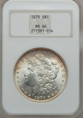 Morgan Dollars: , 1879 $1 MS64 NGC. NGC Census: (3714/770). PCGS Population(3338/1036). Mintage: 14,807,100. Numismedia Wsl. Price forprobl...