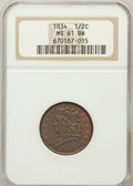 Half Cents: , 1834 1/2 C MS61 Brown NGC. NGC Census: (30/229). PCGS Population(7/185). Mintage: 141,000. Numismedia Wsl. Price for probl...