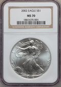 Modern Bullion Coins, 2002 $1 Silver Eagle MS70 NGC. NGC Census: (2022). PCGS Population(40). Numismedia Wsl. Price for problem free NGC/PCGS c...