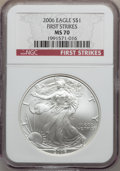 Modern Bullion Coins, 2006 $1 First Strike MS70 NGC. NGC Census: (2228). PCGS Population(346). (#89981)...