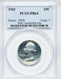 Proof Washington Quarters: , 1942 25C PR64 PCGS. PCGS Population (792/2434). NGC Census:(385/1546). Mintage: 21,123. Numismedia Wsl. Price for problem ...