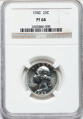 Proof Washington Quarters: , 1942 25C PR64 NGC. NGC Census: (385/1546). PCGS Population(792/2434). Mintage: 21,123. Numismedia Wsl. Price for problem f...