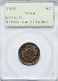 Proof Shield Nickels: , 1883 5C PR64 PCGS. PCGS Population (370/624). NGC Census:(277/623). Mintage: 5,419. Numismedia Wsl. Price for problemfree...