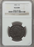 Large Cents: , 1814 1C Crosslet 4 VG8 NGC. NGC Census: (11/369). PCGS Population(8/257). Mintage: 357,830. Numismedia Wsl. Price for prob...