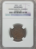 Half Cents: , 1835 1/2 C -- Environmental Damage -- NGC Details. AU. NGC Census:(50/1254). PCGS Population (73/652). Mintage: 398,000. N...