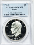 Proof Eisenhower Dollars: , 1973-S $1 Silver PR69 Deep Cameo PCGS. PCGS Population (13629/4). NGC Census: (1366/0). Numismedia Wsl. Price for problem ...