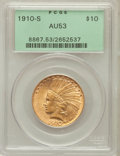 Indian Eagles: , 1910-S $10 AU53 PCGS. PCGS Population (139/1248). NGC Census:(76/1242). Mintage: 811,000. Numismedia Wsl. Price for proble...