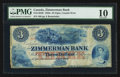 Canadian Currency: , Clifton, CW - The Zimmerman Bank $3 18__ Ch. # 815-14-04RRemainder. ...